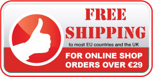 free shipping for all online shop orders over 20 euros to most EU countries and the UK