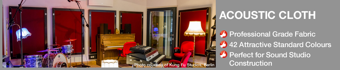 Acoustic Cloth for sound studios in 42 great colours