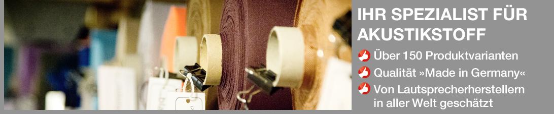 Willkommen bei Akustikstoff.com - Ihrem Spezialisten für Lautsprecherstoff und akustisch transparent